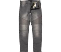 Crosshatch Mens Rancho Biker Fit Jeans Grey