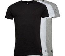 U.S. POLO ASSN. Mens Three Pack T-Shirt White/Grey/Black