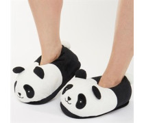 Damen Lin Panda Hausschuhe Schwarz