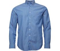Herren Broadcloth Pinstripe Reg Fit Hemd mit langem Arm Mittelblau
