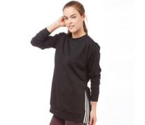 Damen Oversized 3 Stripe Sweatshirt Schwarz