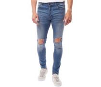 Herren Crofton Ripped Skinny Jeans Blau