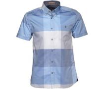 Herren Shamdog Hemd mit kurzem Arm Blaukariert