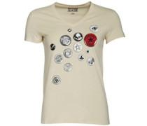 Damen Button Graphic T-Shirt Ecru