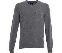 Lyle And Scott Vintage Herren Lambswool Mid Pullover mit V-Ausschnitt Grau