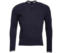 Mens 1/4 Zip High Neck Knit Top Navy