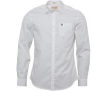 Herren Poplin Hemd mit langem Arm Weiß