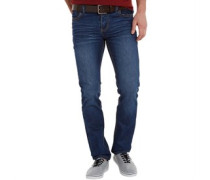 Herren Frontier Jeans in Slim Passform Med Wash/Brown Belt