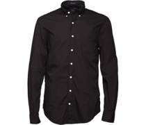 Gant Herren Lakeside Poplin Hemd mit langem Arm Schwarz