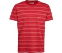 Herren Striped Polohemd Rot