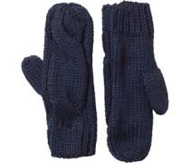 Cable Mitten Handschuhe Navy