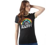 Damen Happy T-Shirt Schwarz