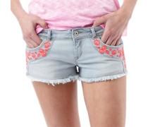 Damen Folkloric Low Rise Denim Hotpants Hellblau
