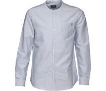 Herren Edward Two Stripe Grandad Collar T-Shirt mit Knopfleiste Blau