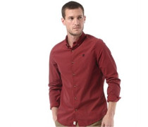 Herren Rattle River Poplin Geprüft Hemd mit langem Arm Rot