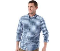 Herren Gingham Washed Poplin Hemd mit langem Arm Blau