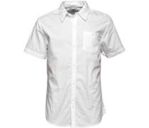 Bellfield Herren Boavista Overdyed Hemd mit kurzem Arm Weiß