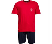 Tee With Short PJ Set Nachthemd Rot