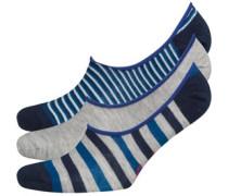 Original Penguin Mens Three Pack Loafer Liners Stripe Blue