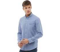 Gingham Hemd mit langem Arm Königsblau