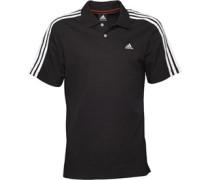 Herren Essentials 3 Stripe ClimaLite Polohemd Schwarz