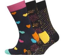 Herren Drei Pack Gemustert Socken Mehrfarbig