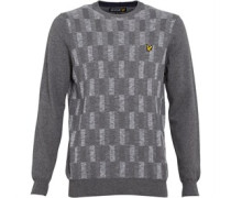 Lyle And Scott Vintage Herren Space Dye Transfer Stitch Pullover mit Rundhalsausschnitt Grau