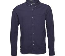 Bellfield Herren Connaught Linen Hemd mit langem Arm Blau