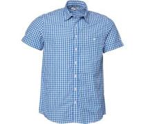 Gingham Geprüft Hemd mit kurzem Arm Königsblau