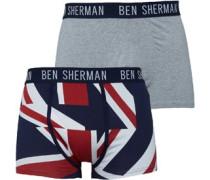 Ben Sherman Mens Elliot Two Pack Boxers Navy Print/Grey