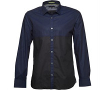 Ted Baker Mens Pannell Colour Block Shirt Navy