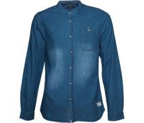 Firetrap Herren Oxna Collarless Mid Hemd mit langem Arm Blau