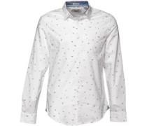 Herren Mini Racket Oxford Hemd mit langem Arm Weiß