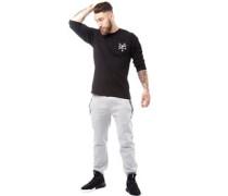Herren Cross Bones Back Print Top mit langem Arm Schwarz