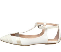 Little Mistress Womens Ankle Strap T-Bar Shoe White