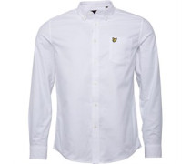 Herren Oxford Hemd mit langem Arm Weiß