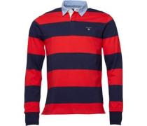 Herren Barstripe Heavy Rugger Rugby Hemd Rot