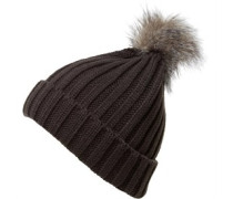 Board Angels Damen Ribbed Fur Bobble Hut Grau