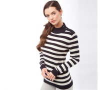 Damen Stripe Strick Navy