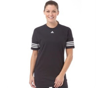 adidas Womens 3 Stripe Loose Fit Short Sleeve Sweat Black