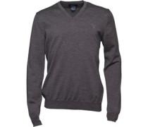 Gant Herren Solid Merino Wool Pullover mit V-Ausschnitt Grau