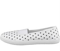 Damen Polka Dot Freizeit Schuhe White/Navy