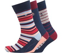 Original Penguin Herren 3er Pack Socken  Rot/Blau/Grau Streifen