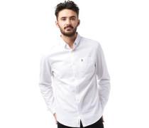 Herren Brushed Oxford Hemd mit langem Arm Weiß