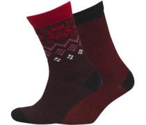 Damen 2 Pack Winter Crew Socken Mehrfarbig
