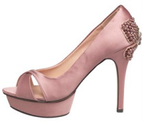 Damen Heel Detail Peep Toe Pumps Rosa