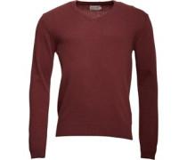 Herren Lambswool Mix Pullover mit V-Ausschnitt Rot