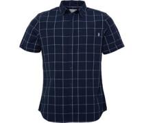 Herren Linen Mix Checked Hemd mit kurzem Arm Navy