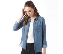 Damen Modern 1 Denim Bluse mit langem Arm Mittelblau