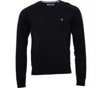 Original Penguin Mens Whiskey Days Crew Neck Cotton Sweater True Black